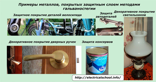 Примеры металлов, покрытых защитным слоем методами гальваностегии