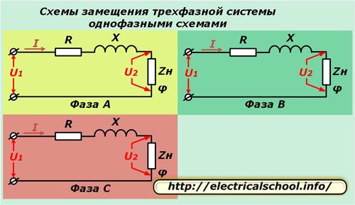 Схема замещения трехфазной системы однофазными схемами