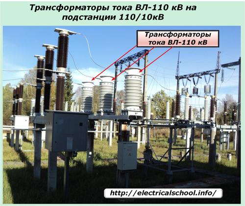Трансформаторы тока ВЛ-110 кВ на подстанции 110/10 кВ