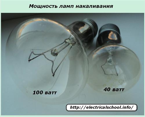 Мощность ламп накаливания