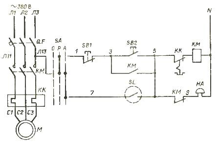 Схема электроснабжения и управления насосом