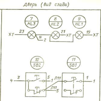 Схема соединений электроаппаратуры в щите управления