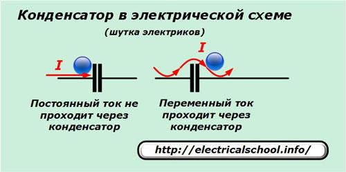 Конденсатор в электрической схеме