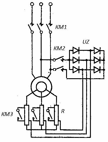 Схема включения асинхронного двигателя в режим динамического торможения самовозбуждением