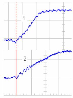 Экспериментальные осциллограммы скорости электропривода при подъеме номинального груза 0-3П: 1 – кольца ротора закорочены; 2. одна из фаз ротора отключена.