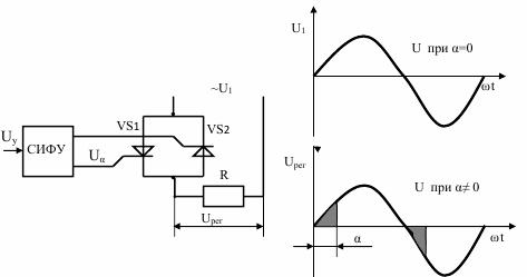 Упрощенная схема тиристорного регулятора напряжения