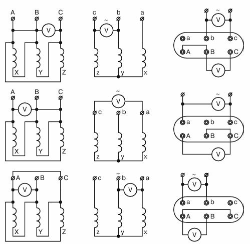 Определение коэффициентов трансформации трансформатора, соединенного по схеме Д/У, при несимметричном трехфазном напряжении