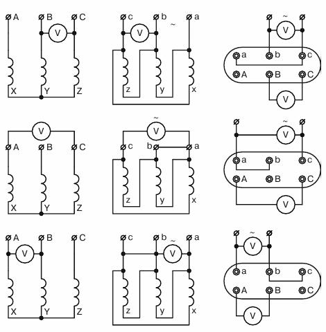 Определение коэффициентов трансформации трансформатора, соединенного по схеме У/Д, при несимметричном трехфазном напряжении