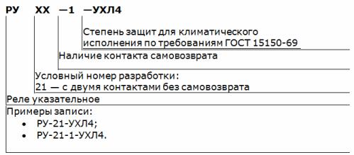 Структурная схема обозначений указательного реле РУ-21