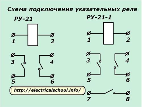 Схема подключения указательных реле