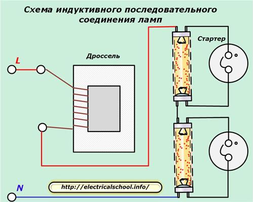 Схема индуктивного последовательного соединения ламп