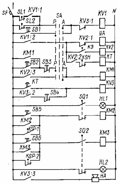 Схема электрическая принципиальная оросительной насосной станции (на схеме не показана силовая часть с двигателями).