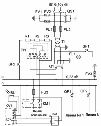 Схема однофазной мачтовой трансформаторной подстанции