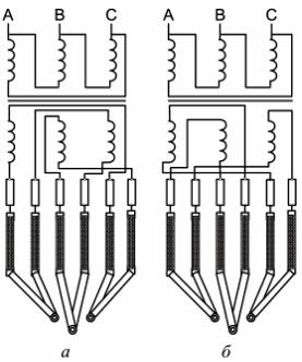 Схема короткой сети дуговой сталеплавильной печи с соединением токоподводов на электродах в треугольник