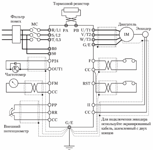 Пример подключения силовых цепей и цепей управления преобразователя частоты