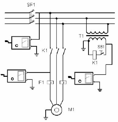 Схема измерения сопротивления изоляции электрооборудования станка