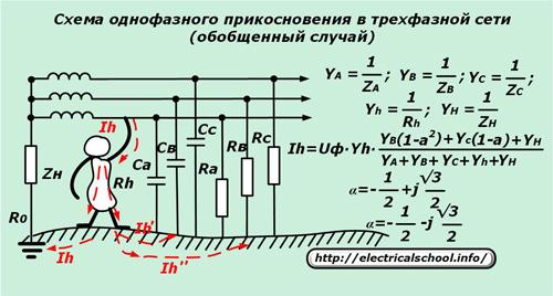 Схема однофазного прикосновения в трехфазной сети