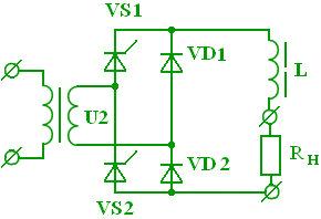 Схема нессиметричного управляемого выпрямителя