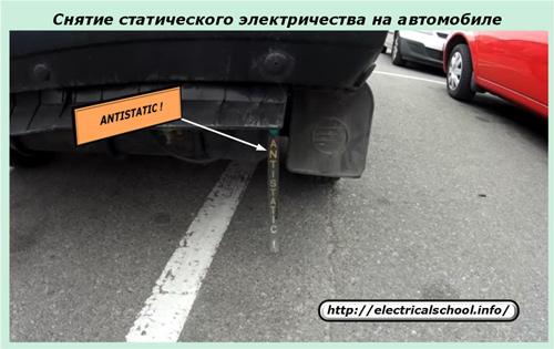Снятие статического электричества на автомобиле