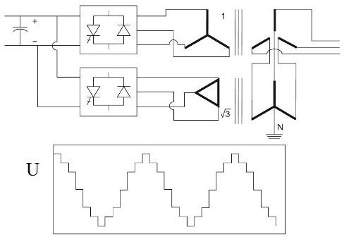 пара шестифазных выпрямителей подключается к паре трехфазных трансформаторов