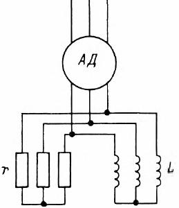 Параллельное включение добавочного активного и индуктивного сопротивления в цепь ротора асинхронного двигателя