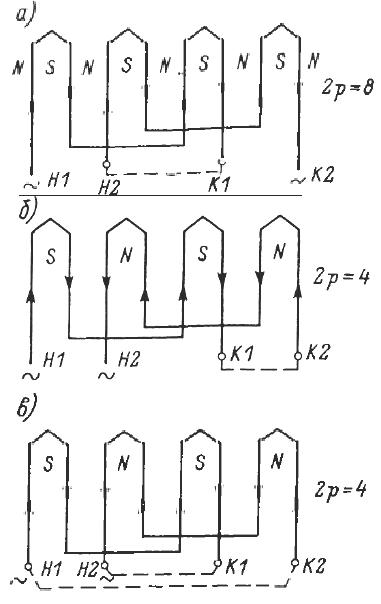 Переключение секций обмотки статора на различное число пар полюсов
