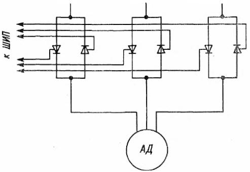 Схема импульсного управления скоростью асинхронного двигателя