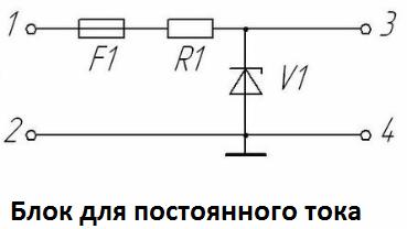Блок для постоянного тока