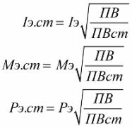 Эквивалентное значение продолжительности включения приводится к стандартному значению ПВ