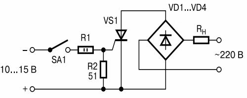 Схема управления тиристором