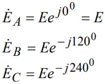 Запись действующих значений ЭДС и в комплексной форме