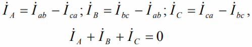 Сумма комплексов токов линейных равна в треугольнике нулю независимо от симметричности или несимметричности нагрузки