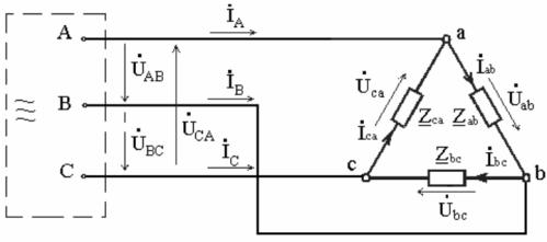 Схема соединения в треугольник