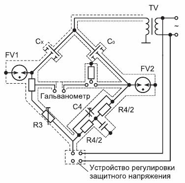 Принципиальная схема измерительного моста переменного тока Р525
