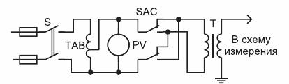 Схема включения испытательного трансформатора при измерении тангенса угла диэлектрических потерь