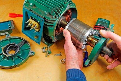 Асинхронный двигатель с короткозамкнутым ротором в разобранном виде