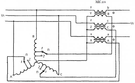 Схема регулируемого вольтодобавочного трансформатора