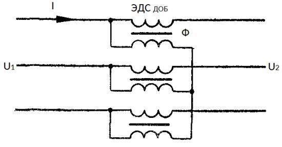 Принципиальная схема включения вольтодобавочного трансформатора без регулировки