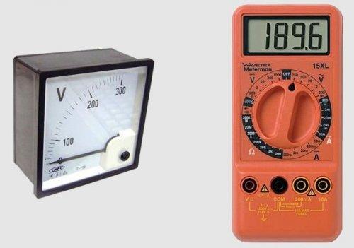 Аналоговый и цифровой прибор для измерения напряжения