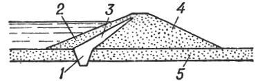 Поперечный профиль земляной плотины