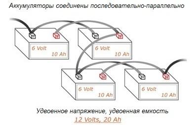 Последовательно-параллельное или смешанное соединение аккумуляторов